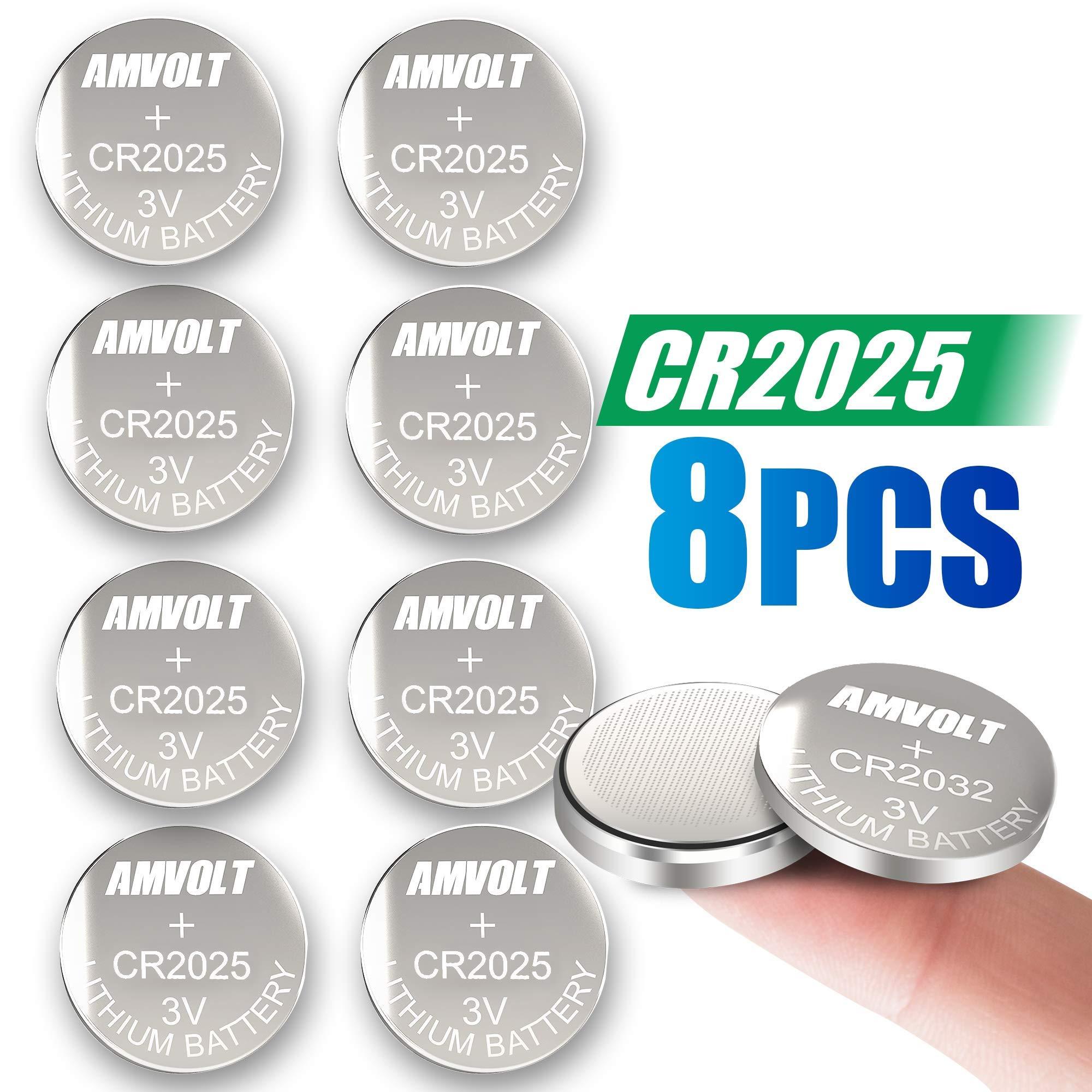 8 Pack AmVolt CR2025 Battery 3 Volt Lithium Battery Coin Button Cell 2020 Expiry Date
