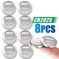 8 Pack AmVolt CR2025 Battery 3 Volt Lithium Battery Coin Button Cell 2020 Expiry Date
