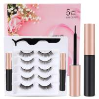 Updated 3 D Magnetic Eyelashes And Eyeliner Set- 2 Tubes of Magnetic Eyeliner & 5 Pairs Magnetic Eyelashes Kit-With Natural Look & Reusable False lashes -No Glue Need