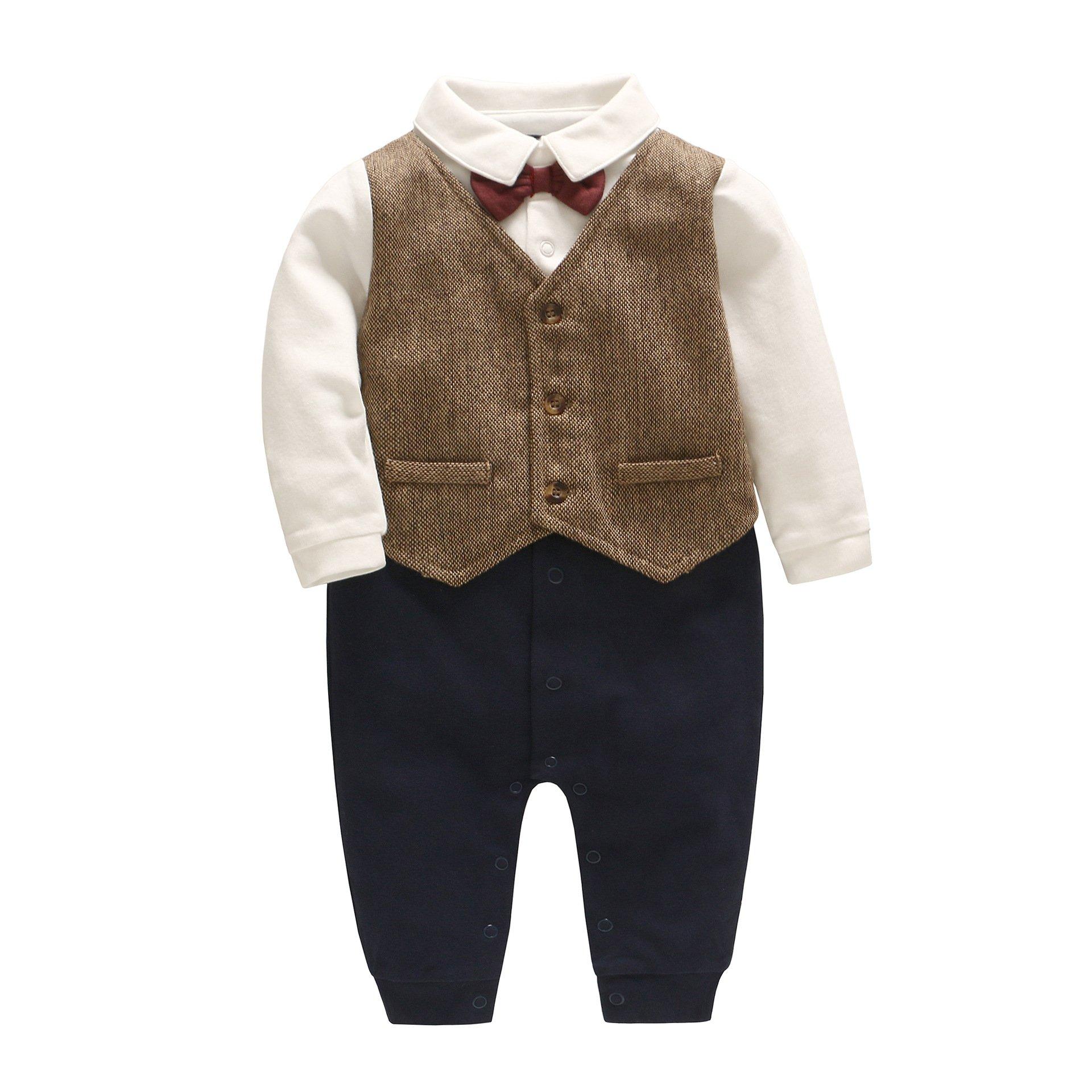 Feidoog Newborn Gentleman One Piece Long Sleeve Baby Boys Gentleman Formal Tuxedo Outfit Suit