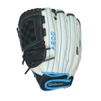 "Wilson Aura Game Ready Fastpitch Softball Gloves, Ivory/Electric Blue, 12"", Left Hand Throw"