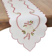 """SARO LIFESTYLE Holiday Ornamental Collection Embroidered Christmas Table Runner, 15"""" x 69"""", Ivory"""