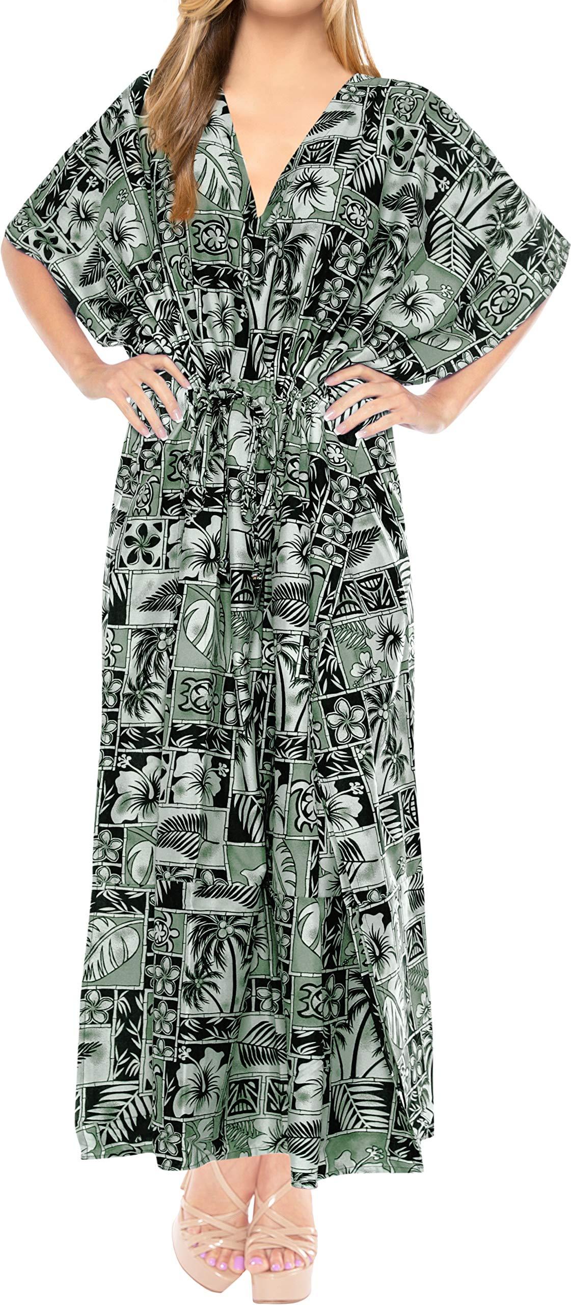 LA LEELA Women's Kaftan Nightgown Lounge Dress Sleepwear Cover Ups Drawstring