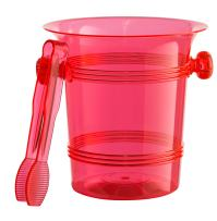 Exquisite 1.5 Quart Hard Plastic Ice Bucket With Tongs- 6 Count- Red