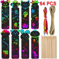 Animal Scratch Art Bookmarks for Kids 64 Set 8 Style DIY Scratch Art Paper Magic Bookmark Gift Tags for Classroom Activities