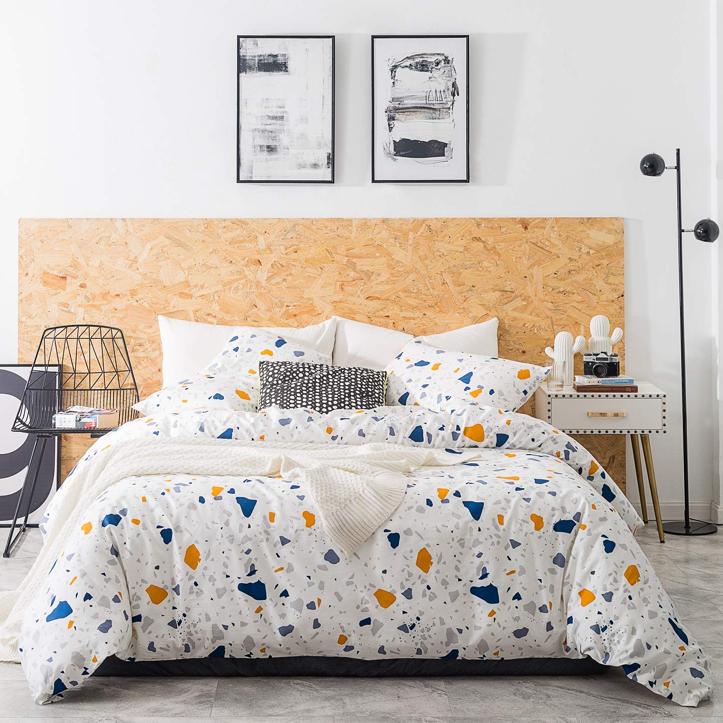 SUSYBAO 3 Pieces Duvet Cover Set 100% Natural Cotton White Queen Size Multi-Colored Stone Print Bedding with Zipper Ties 1 Watercolor Pattern Duvet Cover 2 Pillowcases Hotel Quality Soft Breathable