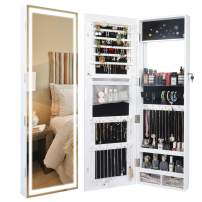 Becko Wooden Jewelry Armoire with Mirror Lights Jewelry Cabinet Jewelry Display Organizer Cabinet, Lockable Jewelry Armoire Organizer with Full-Length Mirror, LED Lights, Large Storage, Wall/Door Mounted (White)