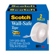 Scotch Wall-Safe Tape, Invisible, Designed for Hanging, 3/4 x 800 Inches, Boxed, 2 Rolls (813S2)