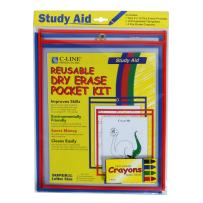 C-Line Reusable Dry Erase Pocket Kit with Crayons, Assorted Primary Colors, 9 x 12 Inches, 2 Pockets per Pack (40600)