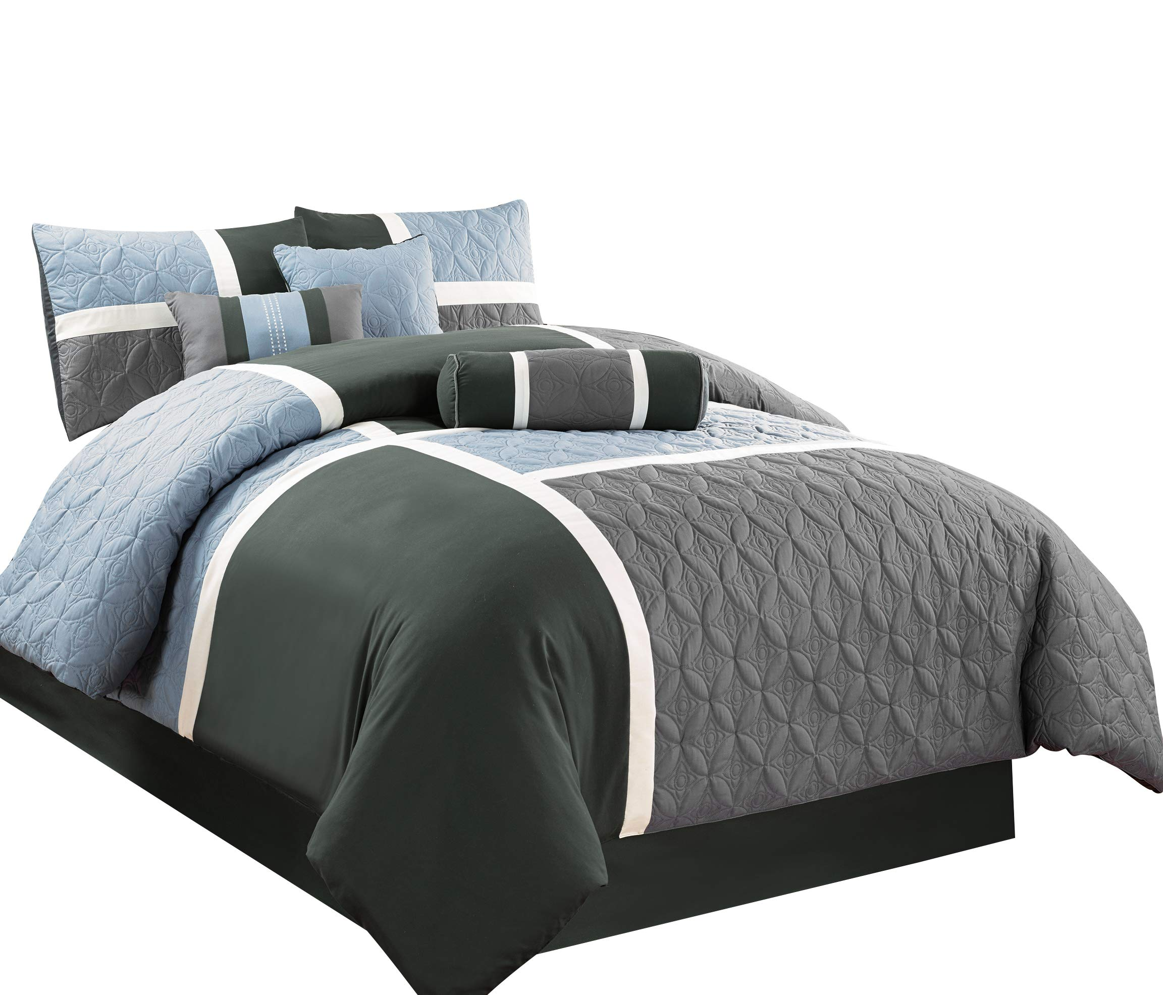 Chezmoi Collection 7-Piece Quilted Patchwork Comforter Set (King, Gray/Charcoal/Blue)