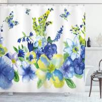 """Ambesonne Yellow and Blue Shower Curtain, Spring Flower Watercolor Flourishing Vibrant Blooms Design, Cloth Fabric Bathroom Decor Set with Hooks, 75"""" Long, Royal Blue"""