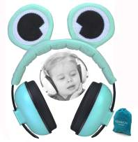 PORMUCAL Baby Ear Protection for Babies for 3 Months to 2+ Years Noise Reduction Ear Muffs for Infant Toddlers with Frog Eye. (Green)