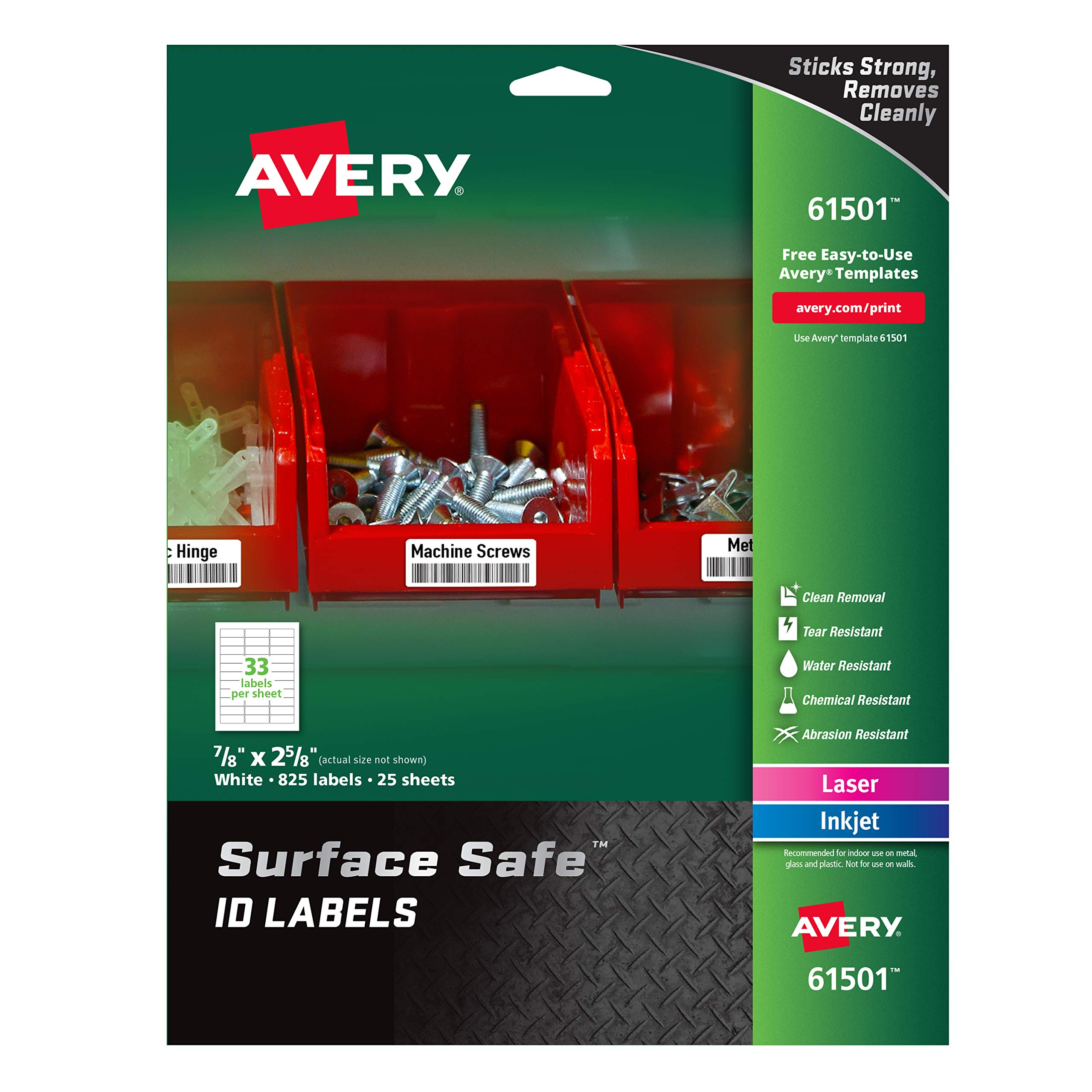 """Avery Surface Safe Durable ID Labels, Removable Adhesive, Water Resistant, 7/8"""" x 2-5/8"""", 825 Labels (61501)"""