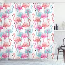"""Ambesonne Watercolor Shower Curtain, Flamingos in Many Colors Hand Drawn Bird Exotic Animals Illustration, Cloth Fabric Bathroom Decor Set with Hooks, 70"""" Long, Baby Blue"""