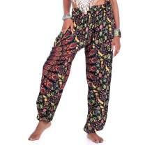 Women's Mens Peacock Print Aladdin Harem Hippie Pants Jumpsuit