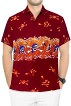 LA LEELA Men's Hippie Casual Short Sleeve Aloha Hawaiian Shirt