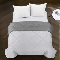 pop shop Tommy All Season Easy-Wash Alternative Reversible Basic Ultra-Soft Microfiber Solid Single Textured Comforter Blanket, Full/Queen, Dove Grey and Charcoal