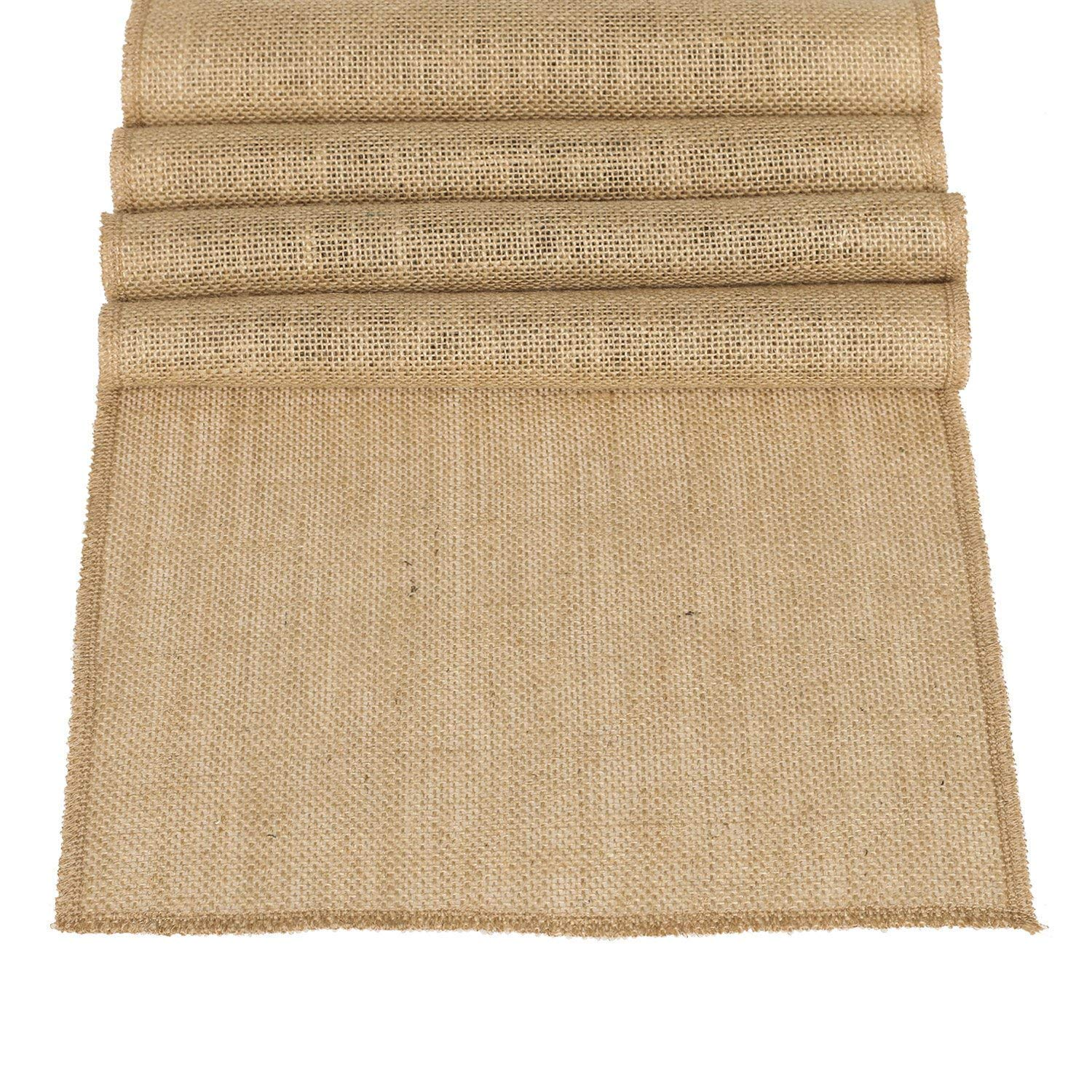 Ling's moment 12 x 108 Inches Jute Farmhouse Table Runner Burlap Table Decor Bamboo for Winter Rustic Wedding Decorations Woodland Baby Shower Country Kitchen Boho Out Table Decor