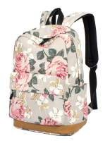 H HIKKER-LINK Floral School Backpack Retro Casual Daypack Laptop Bookbag with USB Gray