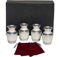 Eternal Harmony Keepsake Urns for Human Ashes | 4 Cremation Urns Carefully Handcrafted with Elegant Finishes to Honor Your Loved One | Each Small Urn Comes in a Beautiful Velvet Bag (Pearl)