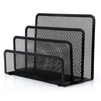 Desk Mail Organizer, Anumit Office Desk File Organizer Desktop Small Mail Holder Paper Organizer Letter Sorter with 3 Vertical Upright Metal Mesh Compartments (1PCS)