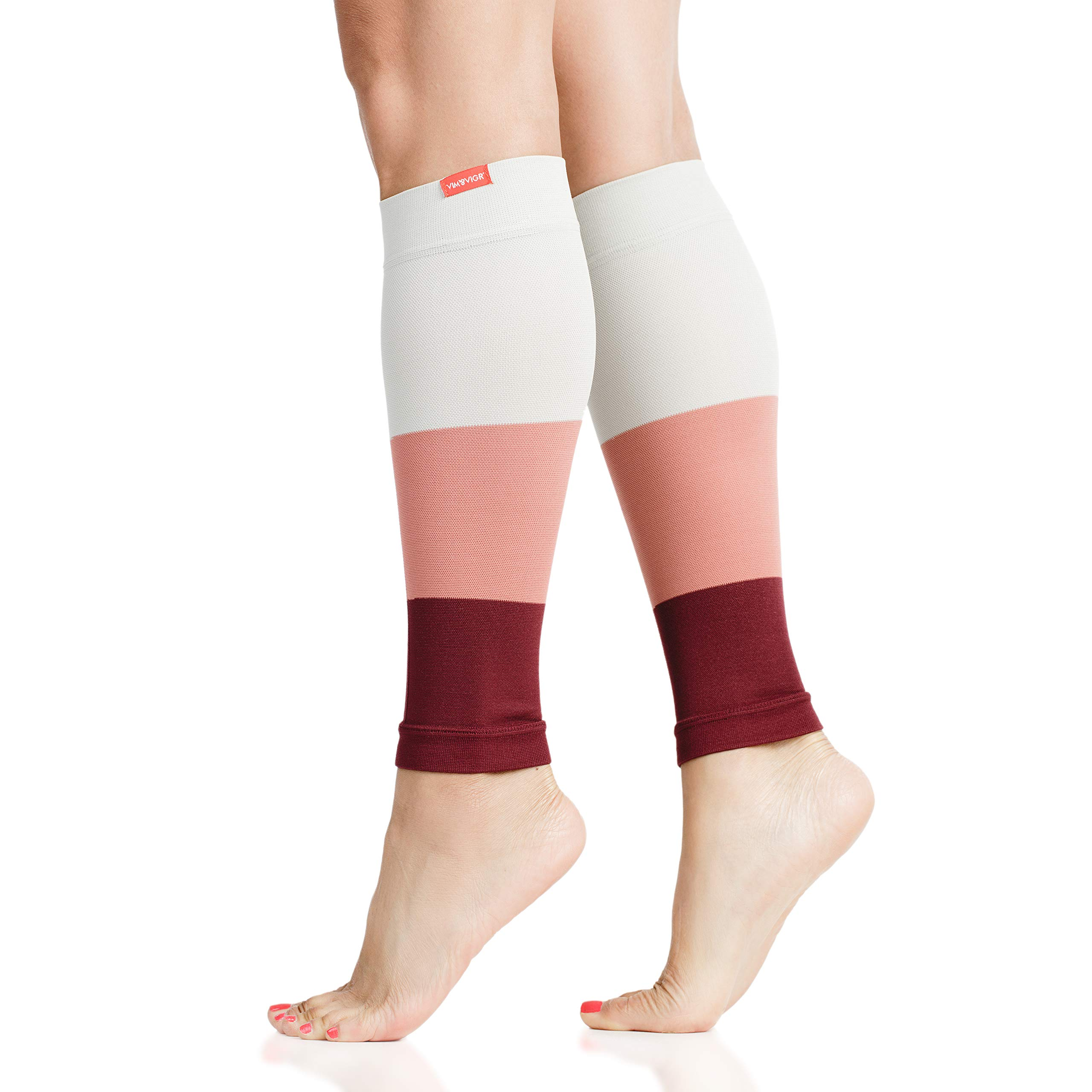 VIM & VIGR 15-20 mmHg Compression Leg Sleeves for Women & Men (Peach & Rhubarb Colorblock Nylon, 1)