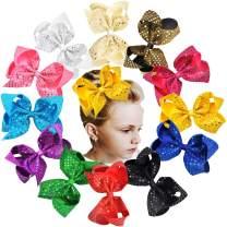 12PCS Glitter Hair Bows Clips 6Inch Sparkly Sequin Glitter Bows Grosgrain Ribbon Hair Bow Alligator Hair Clips Hair Accessories for Girls Toddlers Kids Children Teens