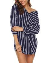 URRU Women's Boyfriend Nightshirt 3/4 Sleeve Button Down Striped Nightgown Sleepwear S-XXL