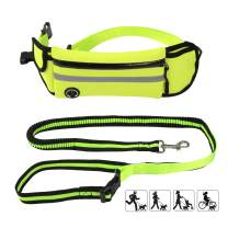 Baconlor Dog Leash Belt Waist Wearing - Durable Strong Safe Bungee Dog Leash with Reflective Adjustable Waist Belt for Small/Medium/Up to 150 Lbs Large Dogs Walking Running Hiking