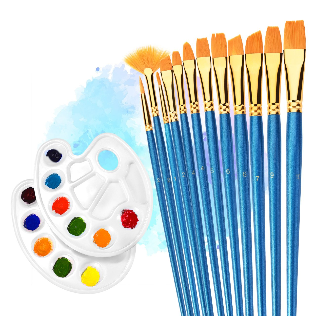 4 Piece Painting Kit Kids Apron Oil Paint Glitter Paint /& 12 Paint Brushes Art!!