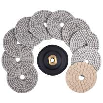 CHANGE MOORE 4 inch Wet Diamond Polishing Pads Set 10 PCS for Granite Concrete Travertine Quartz Countertop Floor Stone for Grinder or Polisher