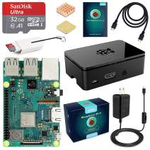 ABOX Raspberry Pi 3 B+ Complete Starter Kit with Model B Plus Motherboard 32GB Micro SD Card NOOBS, 5V 3A On/Off Power Supply, Premium Black Case, HDMI Cable, SD Card Reader with USB A&USB C, Heatsink