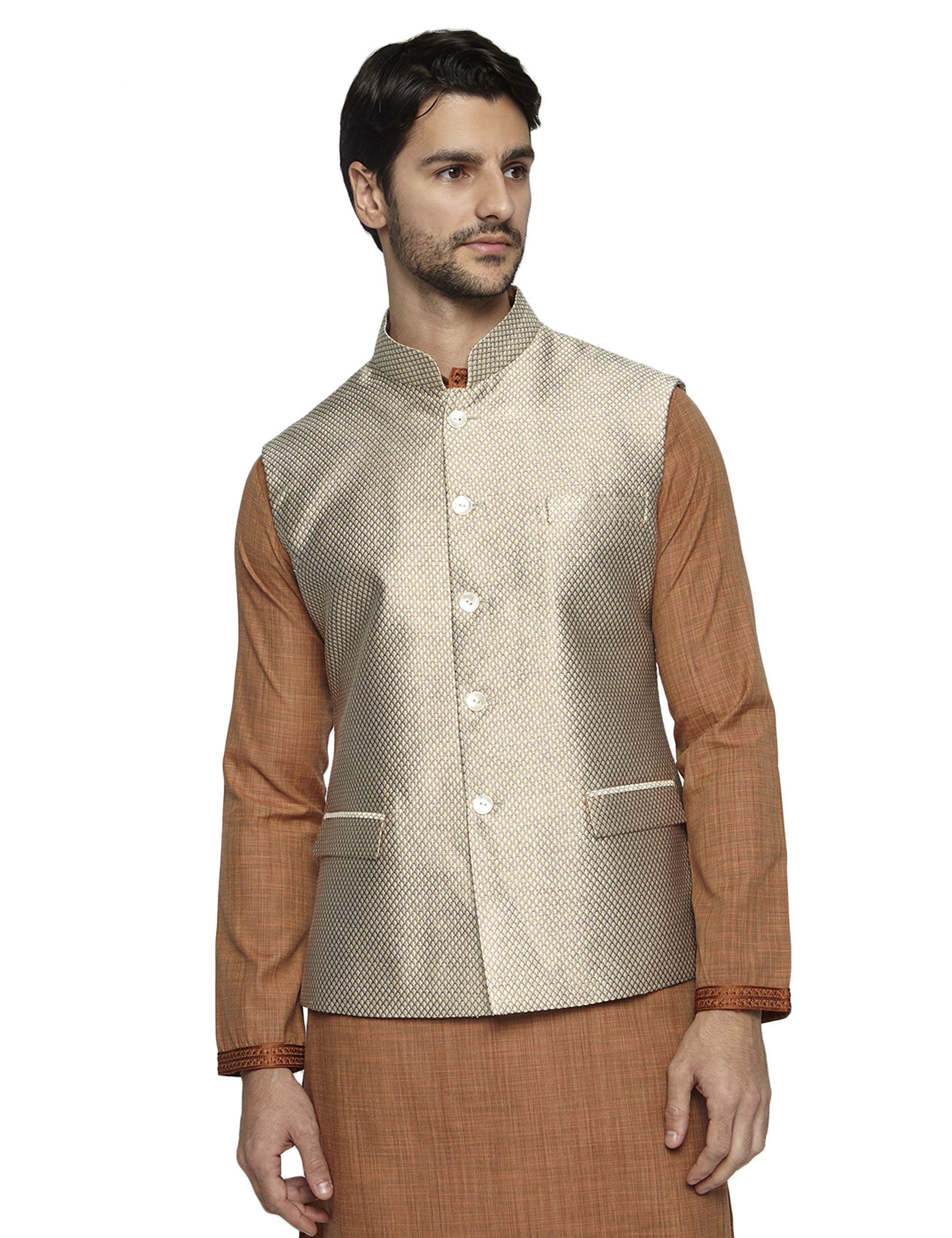 Ethnix by Raymond Men's Light Fawn Cotton Nehru Jacket