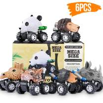 Pull Back Cars 6 Pack, Mini Dino Cars with Big Tire Pull Back Animals Vehicle Set for 3-10 Year Old Boys Girls Great Toys Gift Party Favor for Kids