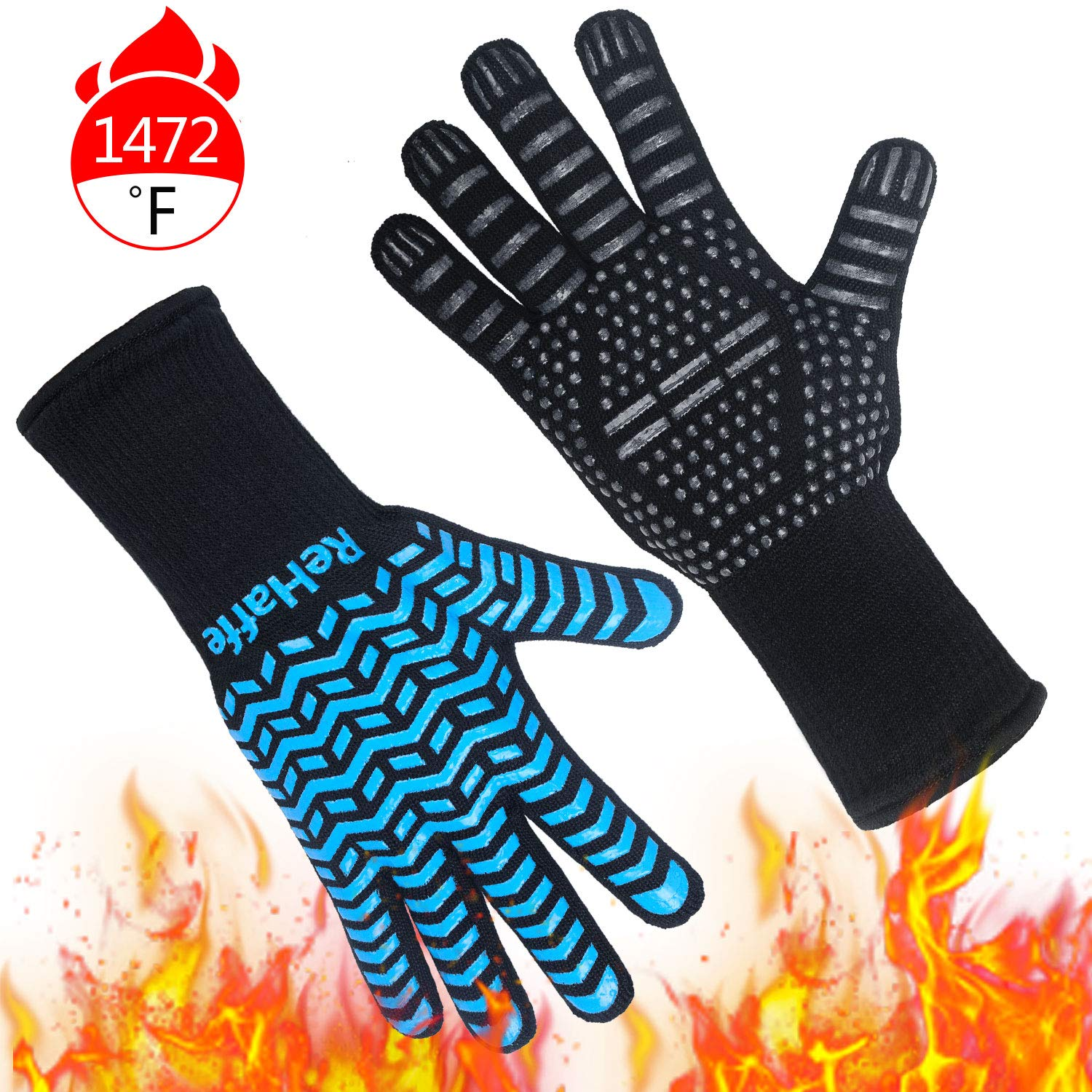 ReHaffe Grill Gloves Heat Resistant 1472℉, Food Grade Kitchen Cooking Gloves, Non-Slip BBQ Grilling Gloves, Smorker Gloves for Barbecue,Grilling,Cooking, Baking, Cutting