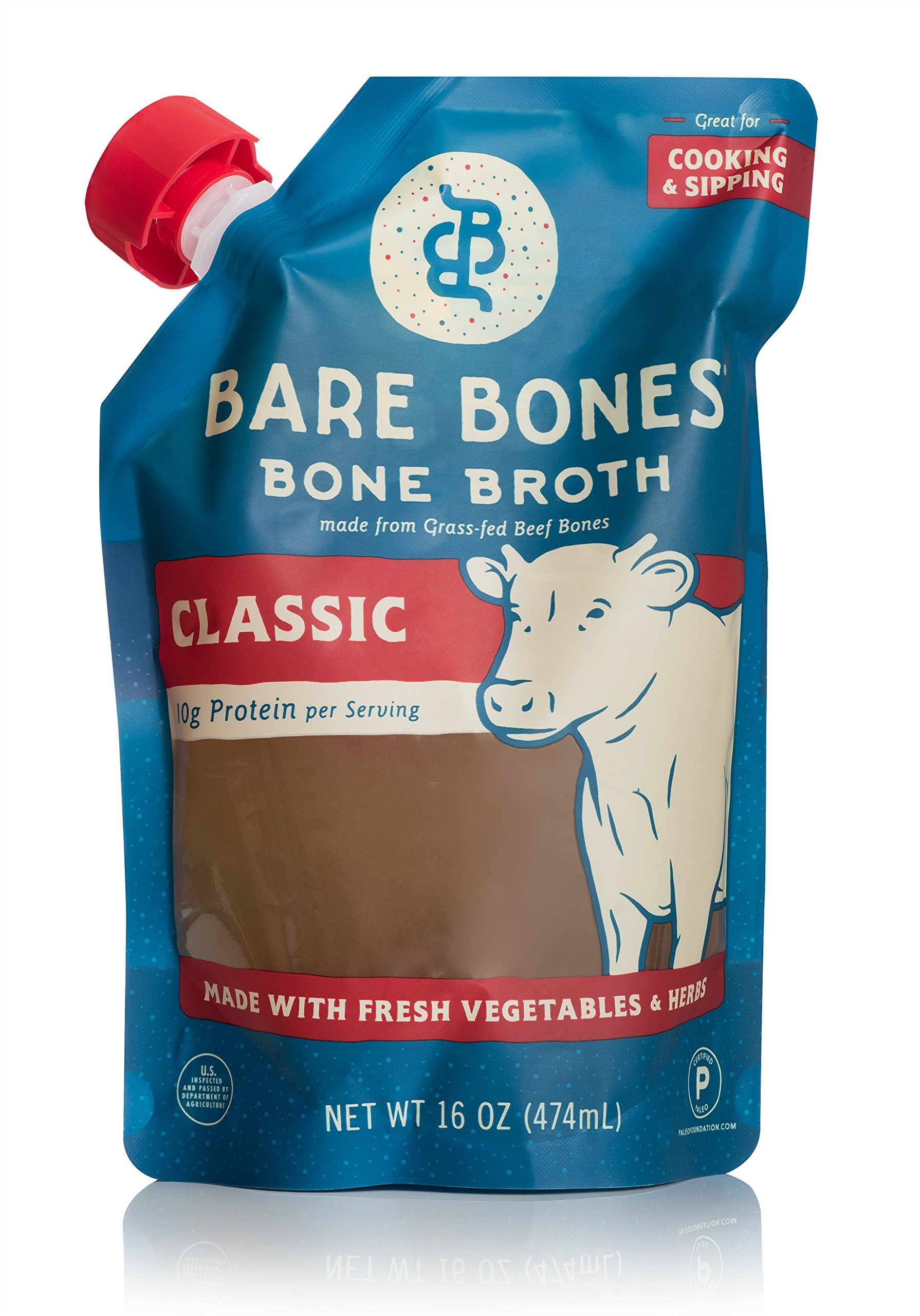 Bare Bones Beef Bone Broth for Cooking and Sipping, 100% Grass-Fed, Organic, Protein and Collagen Rich, Keto Friendly, 16 oz Pouch