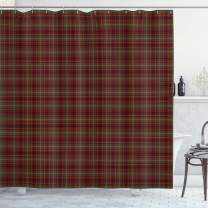 "Ambesonne Plaid Shower Curtain, Classic Composition of Squares Tartan Pattern Scottish Style Illustration, Cloth Fabric Bathroom Decor Set with Hooks, 70"" Long, Vermilion Green"