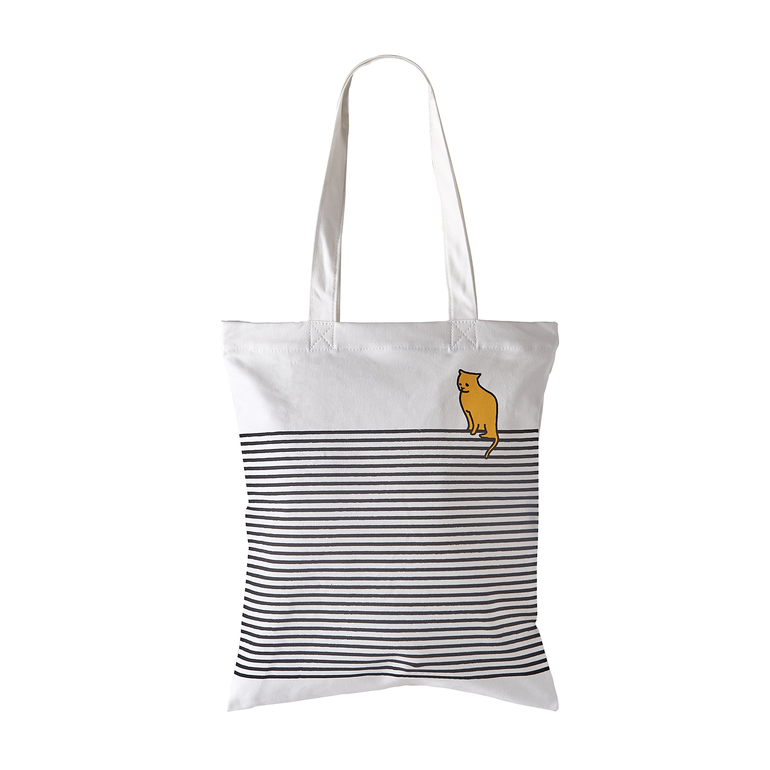 Waitworth 'Into the Black' Cotton Canvas Tote Bag Stylish Casual Shoulder Bag with Zipper and Pocket for Shopping Travel and School Work Black Striped Eco-Friendly (Blackcat)
