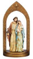 """Joseph's Studio by Roman - Holy Family Figure in Arch, Jewel Tones with Ornate Pattern, 11.75"""" H, Resin and Stone, Tabletop or Desk Display, Decorative"""