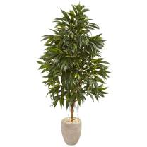 "Nearly Natural 74"" Royal Ficus Artificial Sand Colored Planter Silk Trees Green"