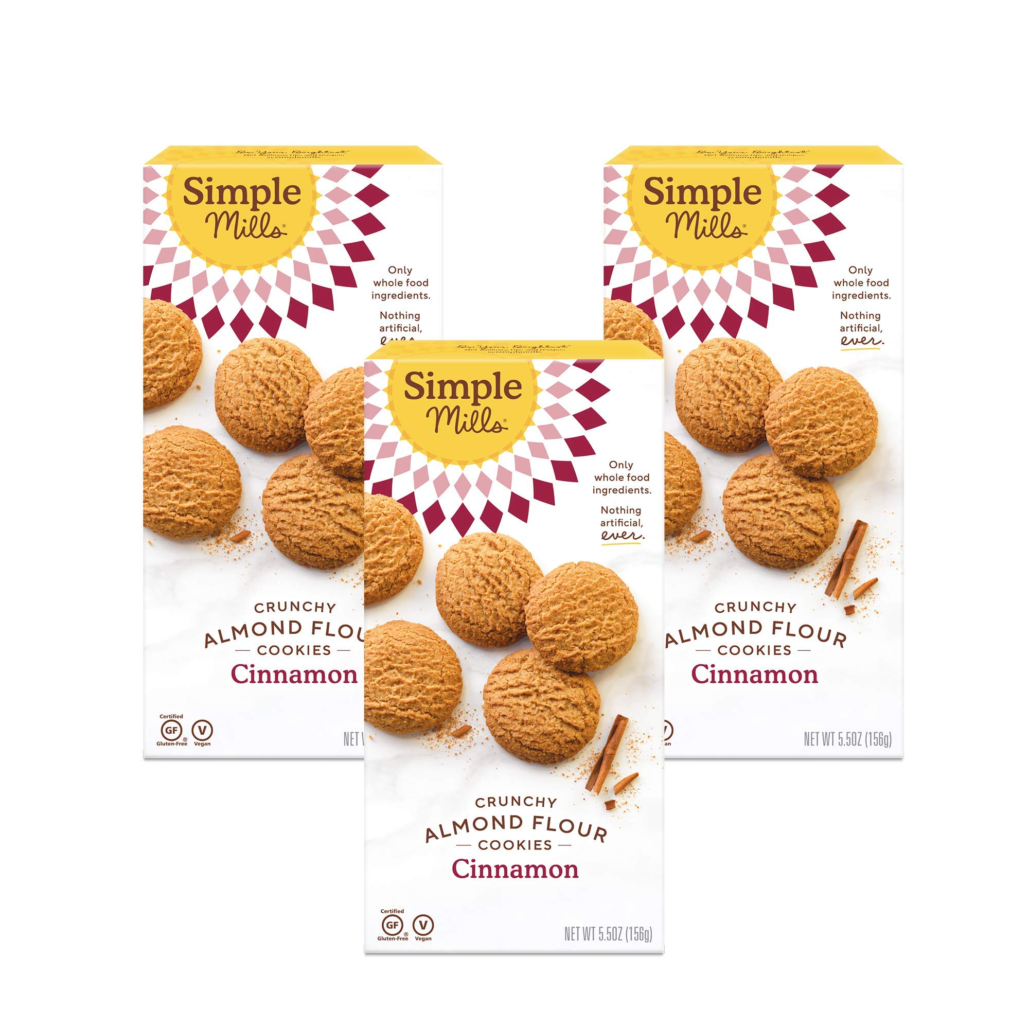 Simple Mills Almond Flour Cinnamon Cookies, Gluten Free and Delicious Crunchy Cookies, Organic Coconut Oil, Better for you Snacks, Made with whole foods, 3 Count, (Packaging May Vary)