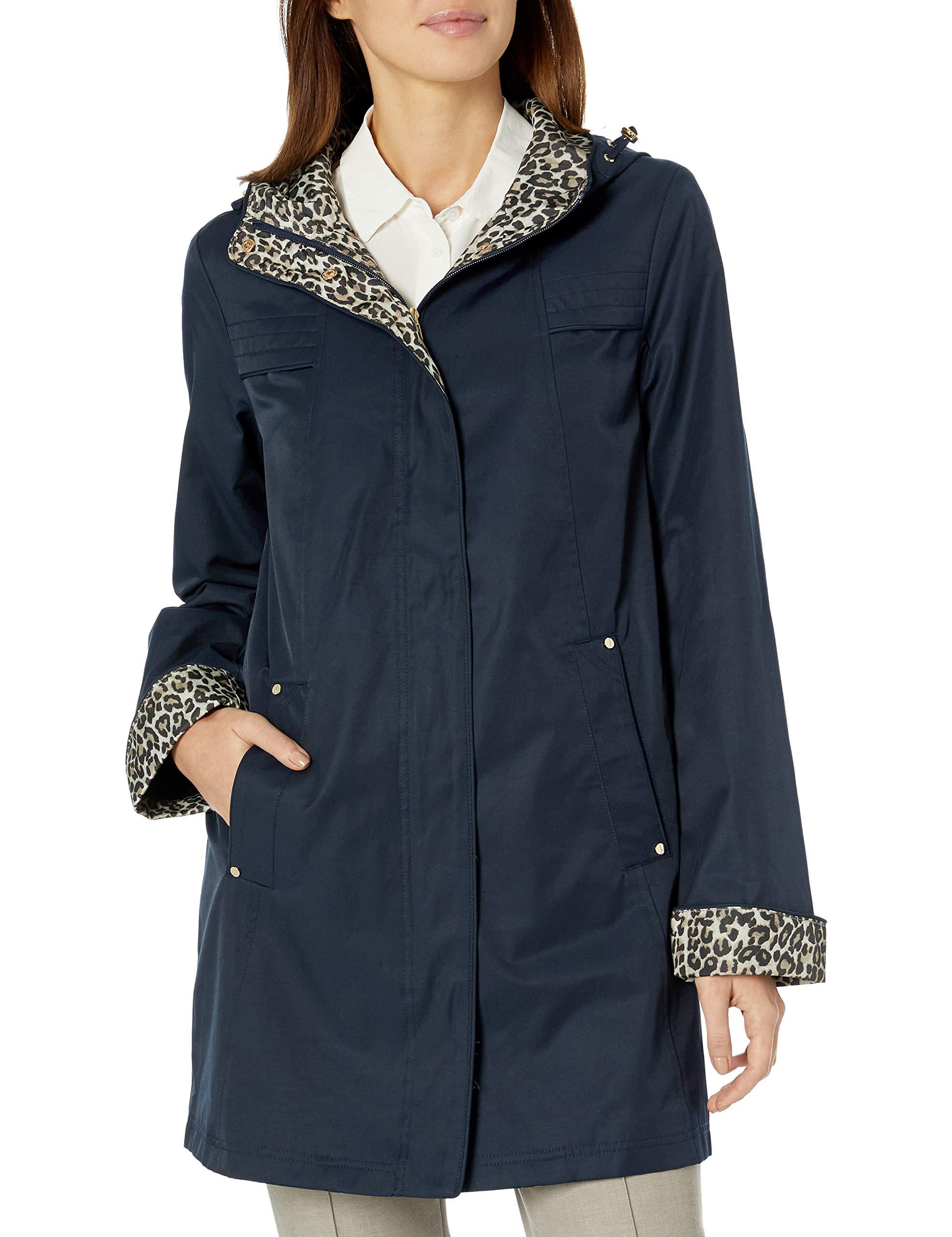 Jones New York Women's Hooded Mid-Weight Coat Rain Jacket