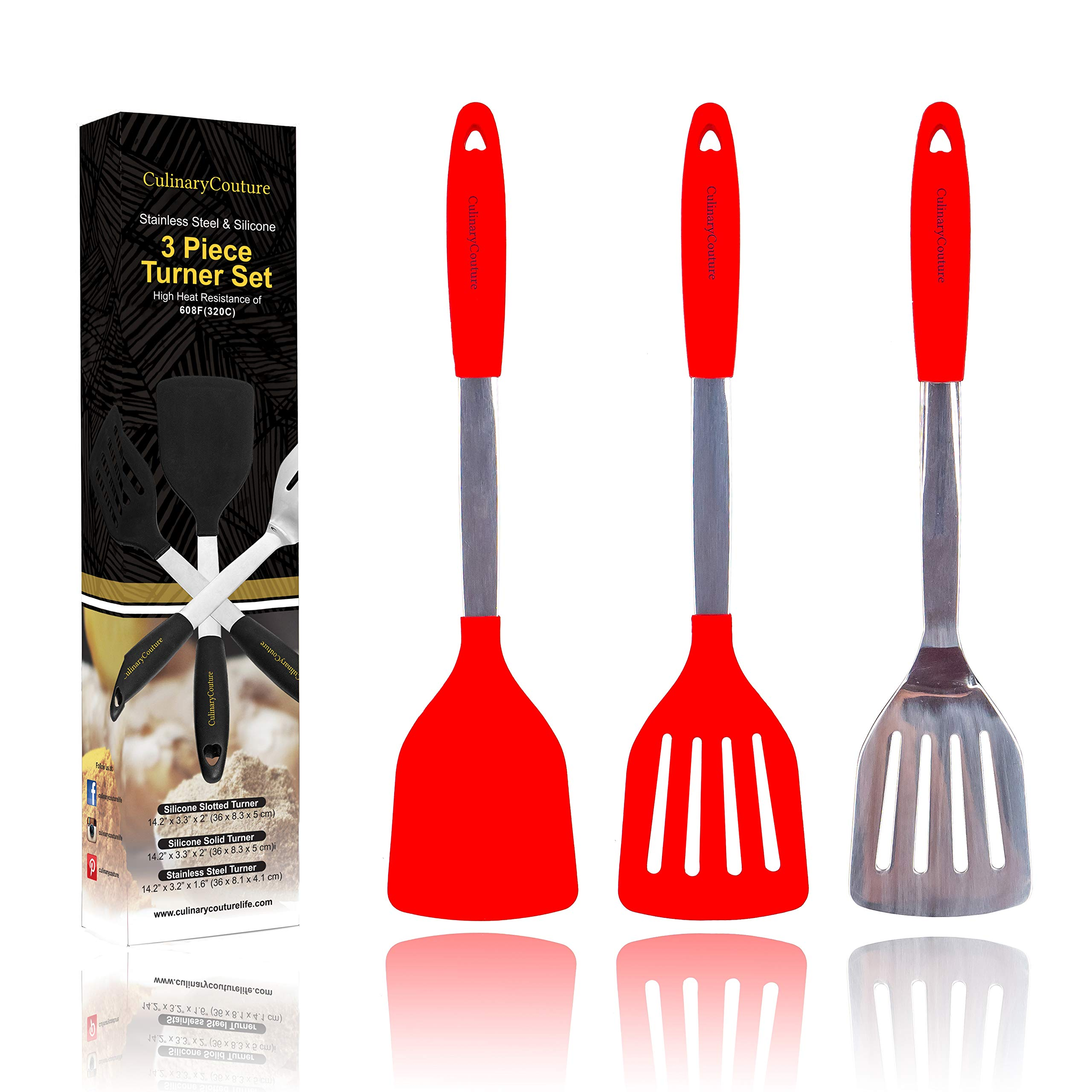 Red Silicone Spatula Turner Set – Stainless Steel and Silicone Heat Resistant Kitchen Utensils – 608F – Grill Spatula Tools for BBQ - Egg and Pancake Flipper – Gift Box and Bonus Recipe Ebook