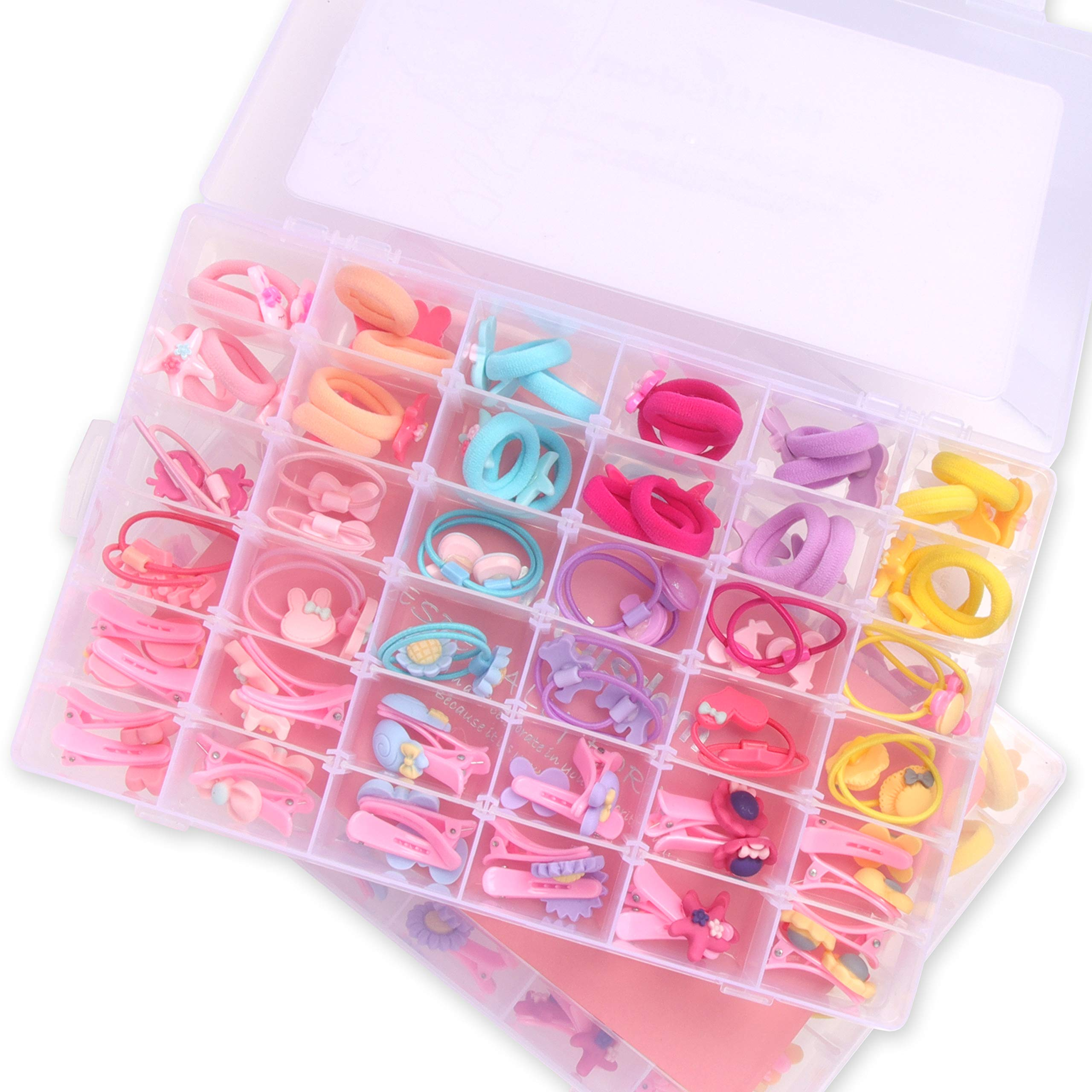 NeWisdom 72 PCS Baby Girls Hair Accessory Set, Cute Hair Clips Hair Bands for Girls Toddler, Multi-Style Elastic Hair Ties Hair Accessories for Girls Age 3 4 5 – Gift Packing
