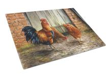 Caroline's Treasures BDBA0056LCB Rooster and Chickens by Daphne Baxter Glass Cutting Board Large, 12H x 16W, multicolor