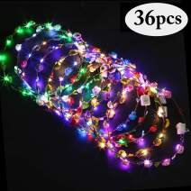 LED Flower Headbands, Outgeek LED Flower Crown Headpiece 36 Pcs Light Up Floral Hair Hoop Glow in The Dark Party Favors Supplies for Girls Women Bridal Festival Holiday Wedding