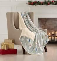 "Super Soft Fleece Sherpa Holiday Throw Blanket - Cozy, Warm Grey Polar Bear Design Blanket. Eve Collection (50"" x 60"")"