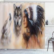 "Ambesonne Colorful Shower Curtain, Blur Mystic Painting of Young Native Man Feather with Wolves, Cloth Fabric Bathroom Decor Set with Hooks, 84"" Long Extra, Cream Tan"
