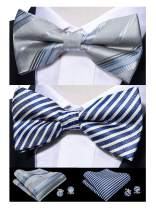 Barry.Wang Men Pre-tied Bow Tie Set with Pocket Square Cufflink Adjustable Silk Bowtie Formal 2PCS