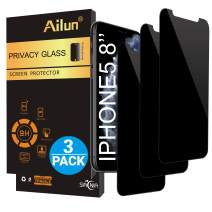 AILUN Privacy Screen Protector Compatible with iPhone 11 Pro/X/Xs 5.8 Inch 3Pack Anti-Spy Anti-Glare Tempered Glass Compatible with iPhone 11 Pro/X/Xs Anti-Scratch Case Friendly